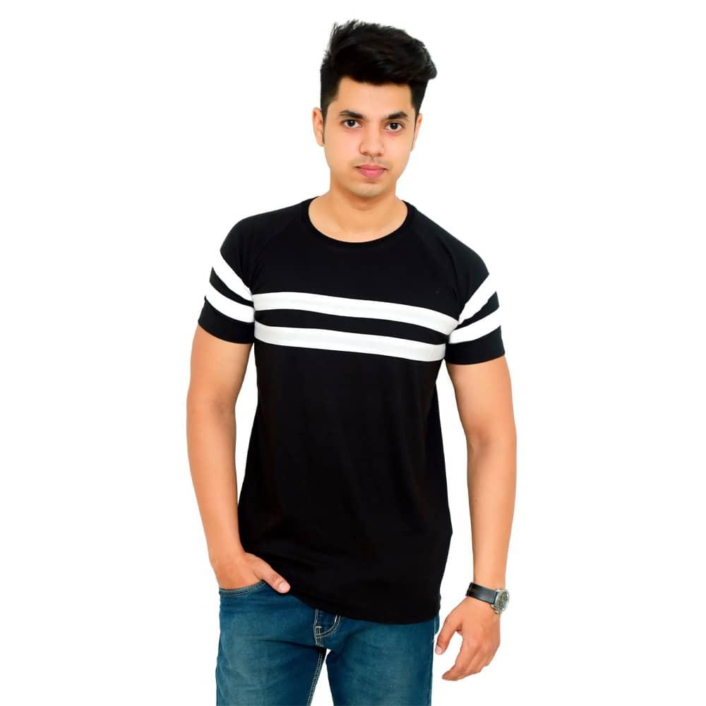 Striped Men Round Neck Black T-Shirt - Faricon