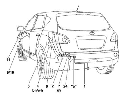 Комплект электрики для фаркопа Nissan Qashqai (Оригинальный)