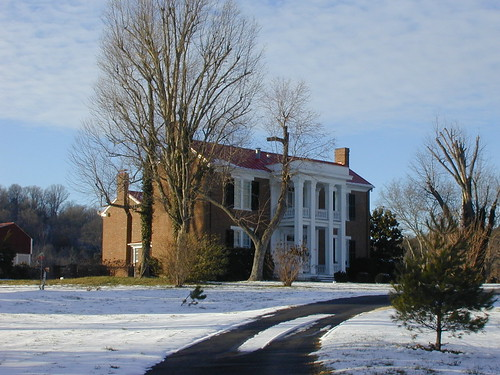 The Harrison House blanketed with snow.