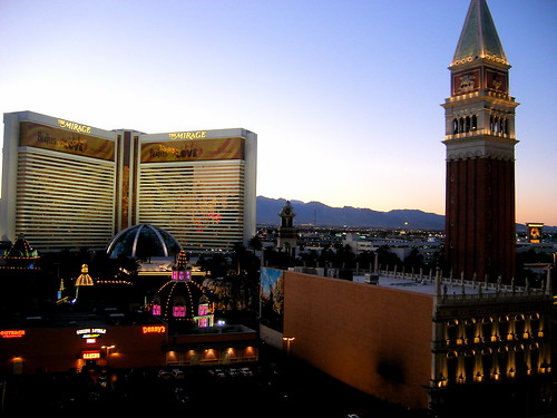 Las Vegas Strip, including the Mirage and the Venetian hotels