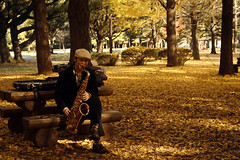 Yoyogi-Park ''a Brushed Gold Saxophone Player'...
