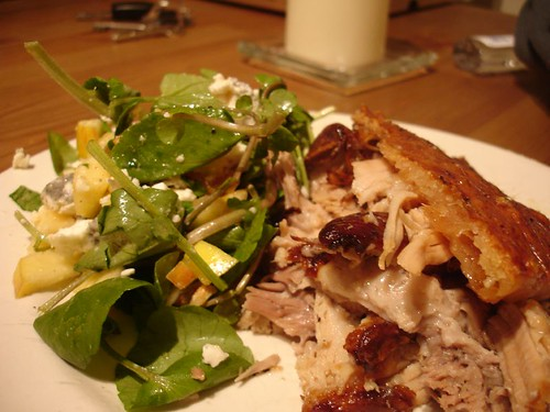 Roast Pork with a salad of walnut, apple, apricot watercress and goats cheese