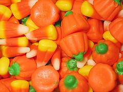 Candy corn and candy pumpkins closeup
