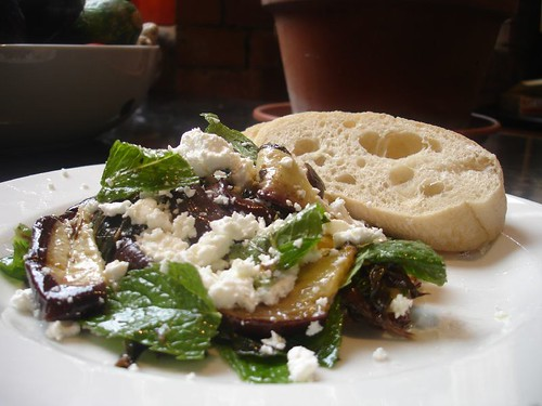 Baked Aubergine ,Mint , Preserved Lemon Lemon and Goats Cheese Salad