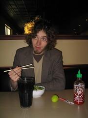 Matt eating thai food