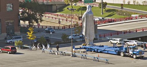 Family Planning protest w 50 foot Giant Virgin Mary