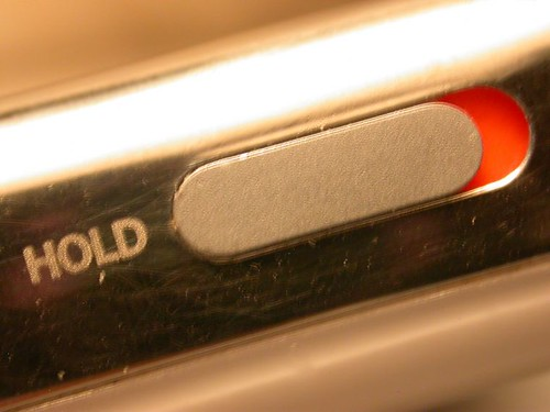 The iPod In Hold Mode. Notice the Fluoroscent Orange Thingy.