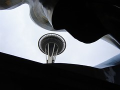 Space Needle, seen through the strange roof of the Science Fiction Museum building