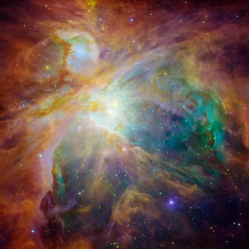 Orion Nebula, from Hubble & Spitzer