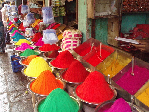 Colored spices, paint...