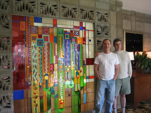 Brent and Daniel in front of Stained Glass