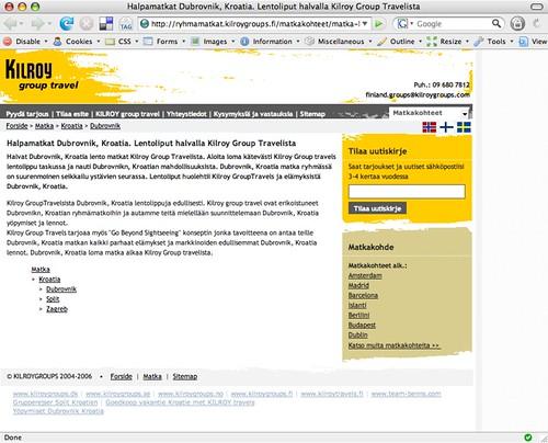 Ruutukaappaus Kilroy Group Travelin sivusta