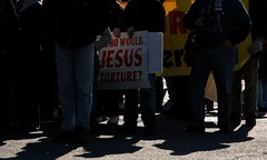 """Who Would Jesus Torture?"" Sign At The Interna..."