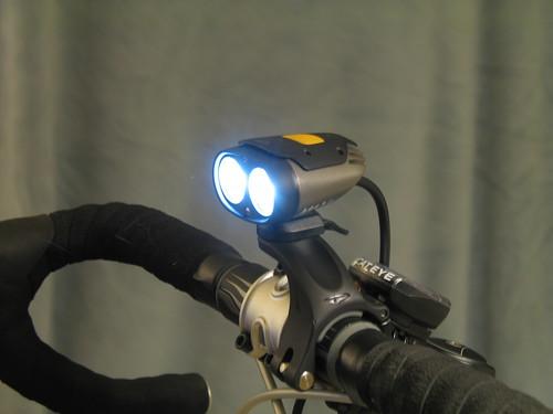 Princeton Tec Switchback 2 bicycle light mounted on handlebar