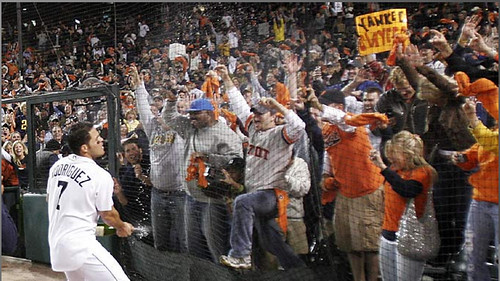 Pudge celebrates after the Tigers won the 2006 American League Pennant
