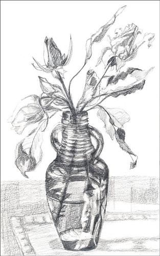 Roses in bottle - value sketch