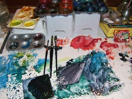 Palette watercolor table