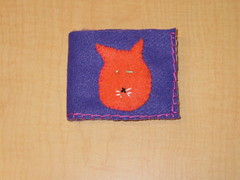 sew123wallets - finished kitty wallet front