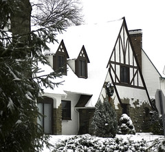 snow covered tudor