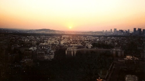 Sunset from Eiffel Tower in Paris, France