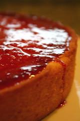 Creme fraiche cake with blood orange glaze