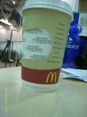 McDonalds coffee cup and loyalty card