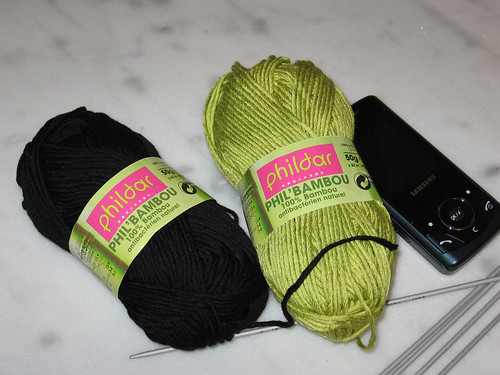 My mobile phone getting acquainted with my two skeins