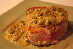 Quick Pan-Seared Tuna wtih Dijon-Caper Cream Sauce