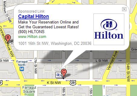 Sponsored link icons on Google Maps