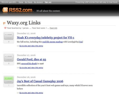 RSS2.com screenshot