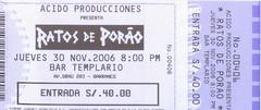Ratos de Porao concert ticket