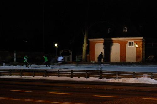 Ice hockey by night