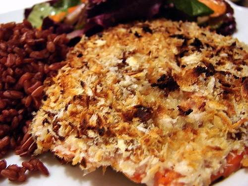wasabi-panko crusted salmon
