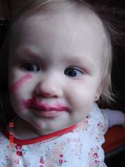 Zoe in red lipstick
