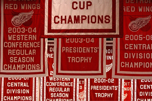 Championship banners hang from the rafters in Joe Louis Arena