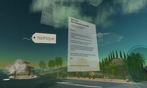 Ile Verte : Néthique, Les Humains Associés, Second Life