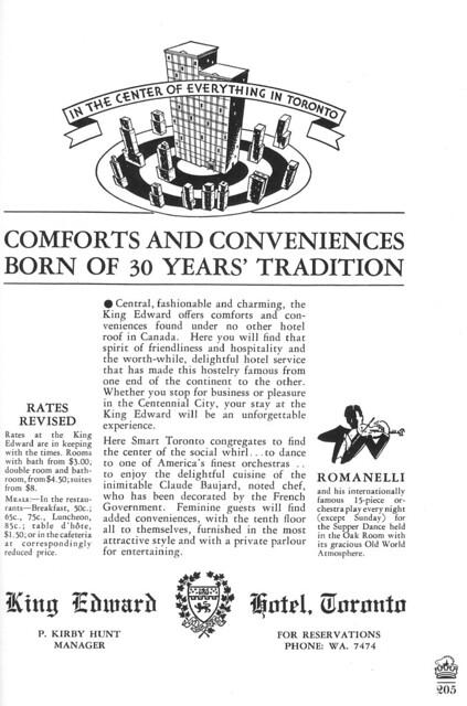 Vintage Ad #133 - King Edward Hotel 1934