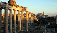 Rome forum and Coliseum at Dawn