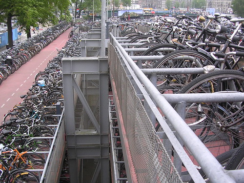 The Amsterdam Centraal Station bike ramp was nearly full when we visited it in May 2006.