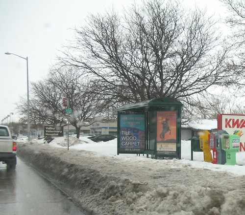 Snowbank blocks bus access