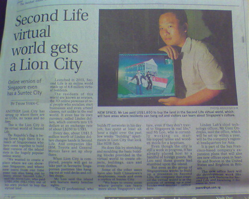 """Alvin Loo's """"Lion City"""" in Second Life (Straits Times, 24th March 2007)"""