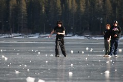 Kids playing on the surface of Donner Lake