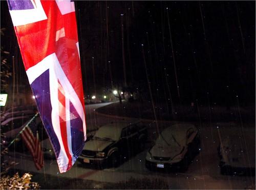 Snow falling at nigth in Springfield, VA.