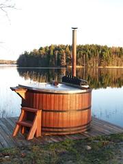 Hot tub by a lake