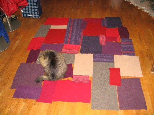 current layout of recycled sweater blanket