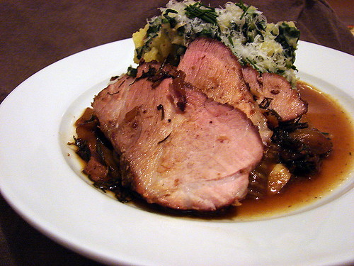 roast pork potatoes with kale
