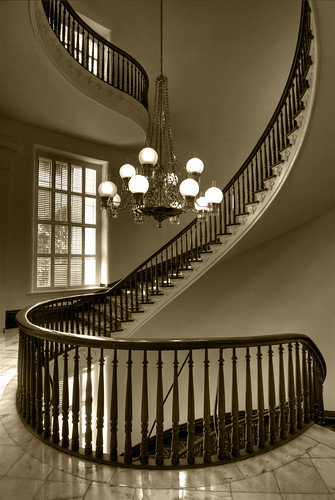 Spiral Staircase Sepia by sunsurfr