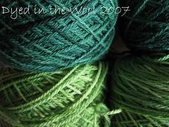green sock yarn macro close up