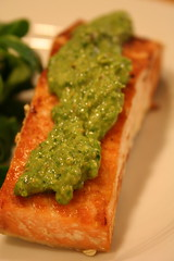 Salmon with Sorrel-Pistachio Pesto