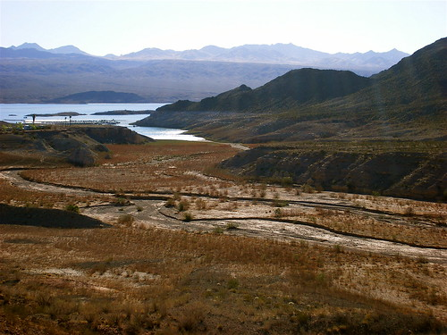 View of Lake Mead past Mojave Desert